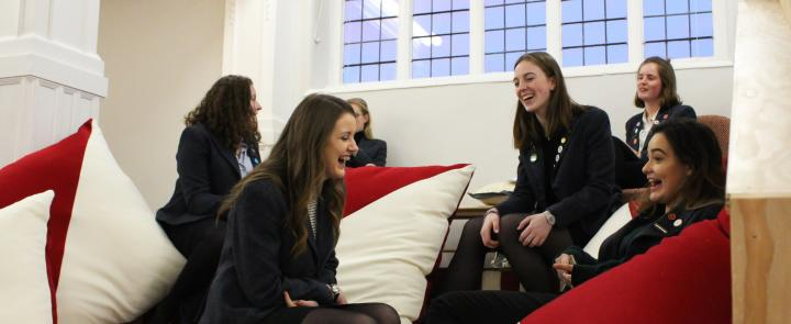 Girls at Roedean School appreciating their new, improved Sixth Form Centre, Keswick Hall | Dickinson British Boarding School Consulting